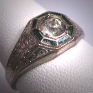 Antique White Sapphire Emerald Green Enamel Wedding Ring Vintage Art Deco 1920