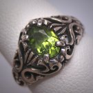 Antique Peridot Ring Wedding Filigree Victorian Art Deco Vintage