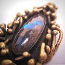 Vintage Signed Luciano Modernist Large 6CT Australian Boulder Opal Pendant For Necklace 1960s