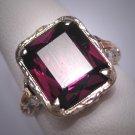 Antique Emerald Cut Garnet Wedding Ring Vintage 14K White and Rose Gold c.1900