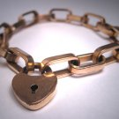 Antique Rose Gold Heart Lock Bracelet Victorian 1800s Beautiful Thick Link Vintage
