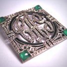 Antique Green Australian Jade Rose Cut and Black Enamel Art Deco Brooch Pin