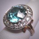 Rare Antique Platinum Blue Zircon Diamond Wedding Ring Edwardian - Art Deco Engagement 1910-20's