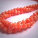 Estate Antique Vintage Genuine Coral Bead Necklace Three Strand Pink