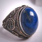 Antique Lapis Silver Ring Old Chinese Victorian Deco Handmade