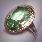 Antique Peridot French Paste Ring Art Deco Retro 1920 Gold and Silver