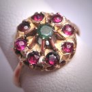 Antique Emerald Ruby Ring Georgian Victorian Yellow Gold Wedding c.1900