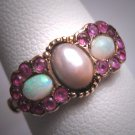Antique Victorian Australian Opal Pearl Ruby Ring Rose Gold Band 1800s