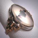 Antique Moss Agate Ring Gold Bow Vintage Art Deco Victorian
