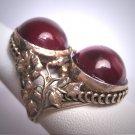 Antique Garnet Cabochon Ring Vintage Victorian Ornate Floral Filigree  c.1900
