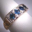 Vintage Platinum 18K Sapphire Diamond Wedding Ring Band Art Deco Chased Detail