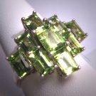Stunning Vintage Peridot Ring Retro Art Deco Gemstone Wedding Emerald Cut