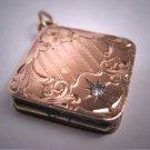 Antique Victorian Floral Engraved Locket Vintage Rose Gold 1800's Pendant Fob