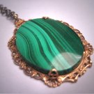 Antique Green Malachite Filigree Necklace Vintage Art Deco 20s