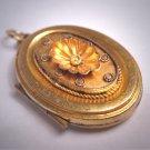 Antique Victorian Locket Pendant 1880s Etruscan Gold Shell Motif