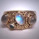 Vintage Moonstone Ring Modernist Designer Band Wedding Gold and Silver Steven Battelle