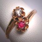 Antique Ruby  and Mine Cut Diamond Wedding Ring Gold Victorian - Art Deco c.1900