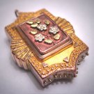 Antique Victorian Lrg Locket Pendant 1800's Etruscan Gold Floral Green Gold