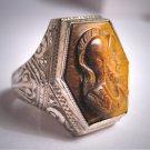 Rare Antique Art Deco Victorian Australian Tigers Eye Roman Soldier Cameo Ring Gold 1920 Neo Classic