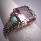 Vintage Emerald Cut Ametrine Opal Ring Wedding Art Deco Filigree
