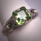 Vintage Peridot Ring Wedding Engagement Victorian Art Deco Style Design Estate