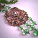 Antique Victorian Peridot Emerald Enamel Necklace Art Deco Czech 1920 Wedding