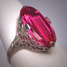 Antique Ruby Ring Vintage Art Deco Wedding White Gold