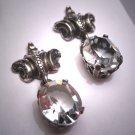 Antique Art Deco White Sapphire Paste Earrings Vintage 1920 Silver Art Nouveau