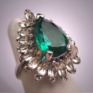 Antique Emerald French Paste Ring Vintage Art Deco Era 1940s Wedding