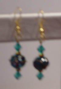 Aquamarine Wedding Cake Lampworks earrings