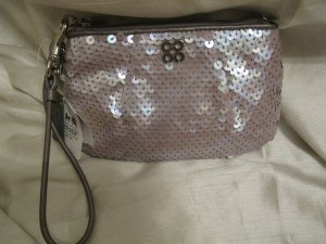 BRAND NEW Coach Audrey Sequin Small Wristlet - Grey 45395 NEW