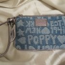 BRAND NEW Coach Poppy Denim Wordblock Wristlet Purse - Style #45520