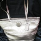 COACH BRAND NEW SIGNATURE STRIPE STITCHED METALLIC TOTE - Style #18877