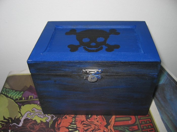 Black & Blue Punk Skull Pirate DIY Jewelery & Trinket Box w/ Key & Purple Lining