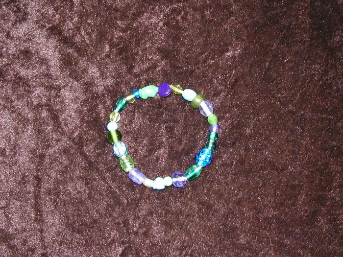 Blue & Green Glass Bead Bracelet: Non-Stretch