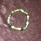 Green Glass Bead Bracelet: Stretch