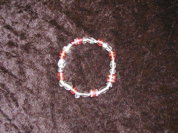 Pink & Clear Glass Bead Bracelet: Stretch