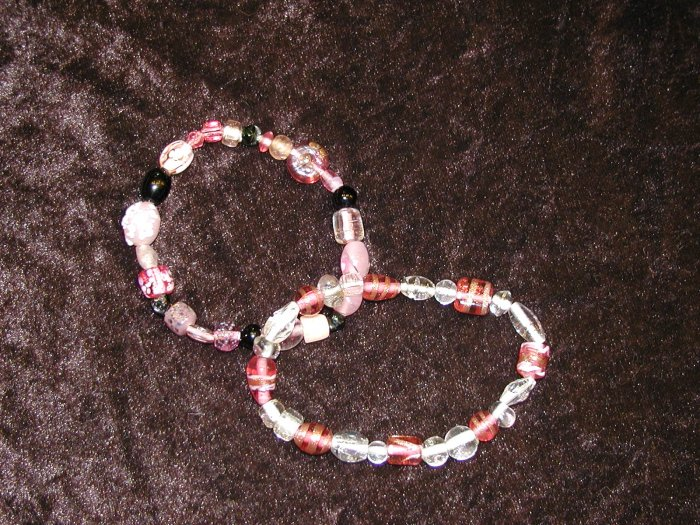 Pink Glass Bead Bracelet Collection: Stretch
