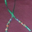 Ribbon Bookmark - Green Assorted Beads
