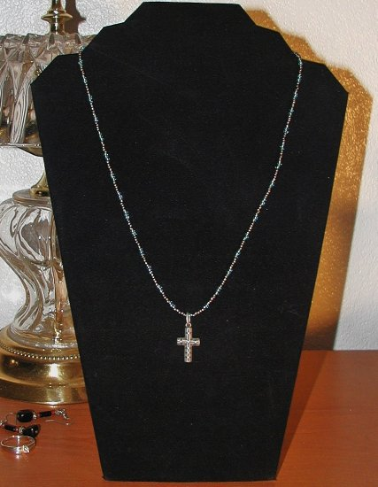 Notched Cross on Aqua and Pewter
