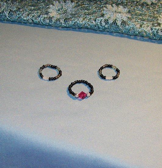 Fuchsia Star - Three Piece Toe Ring Set