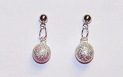 Silver Glitter - Short Dangle Earrings