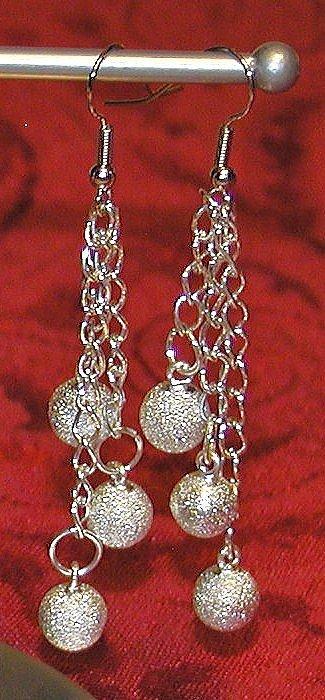Silver Glitter - Long Dangle Earrings