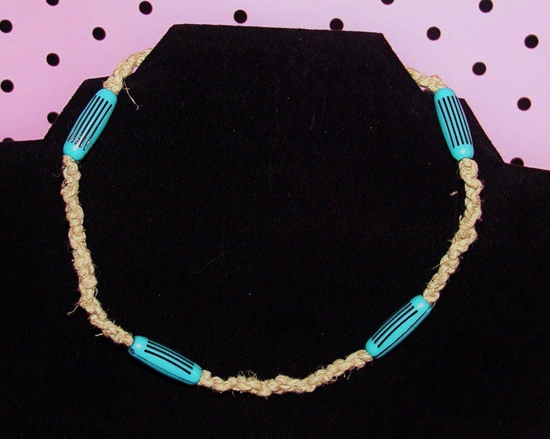 Black and Blue Hemp Necklace