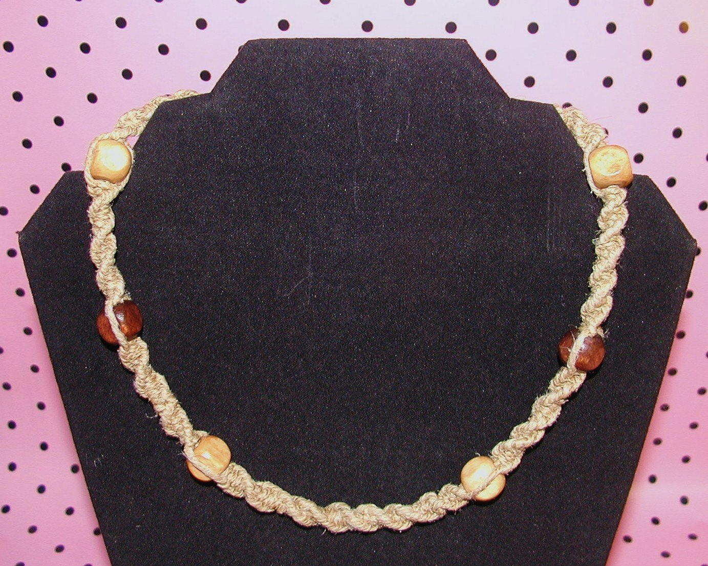 Spiral Hemp Necklace with Wooden Beads
