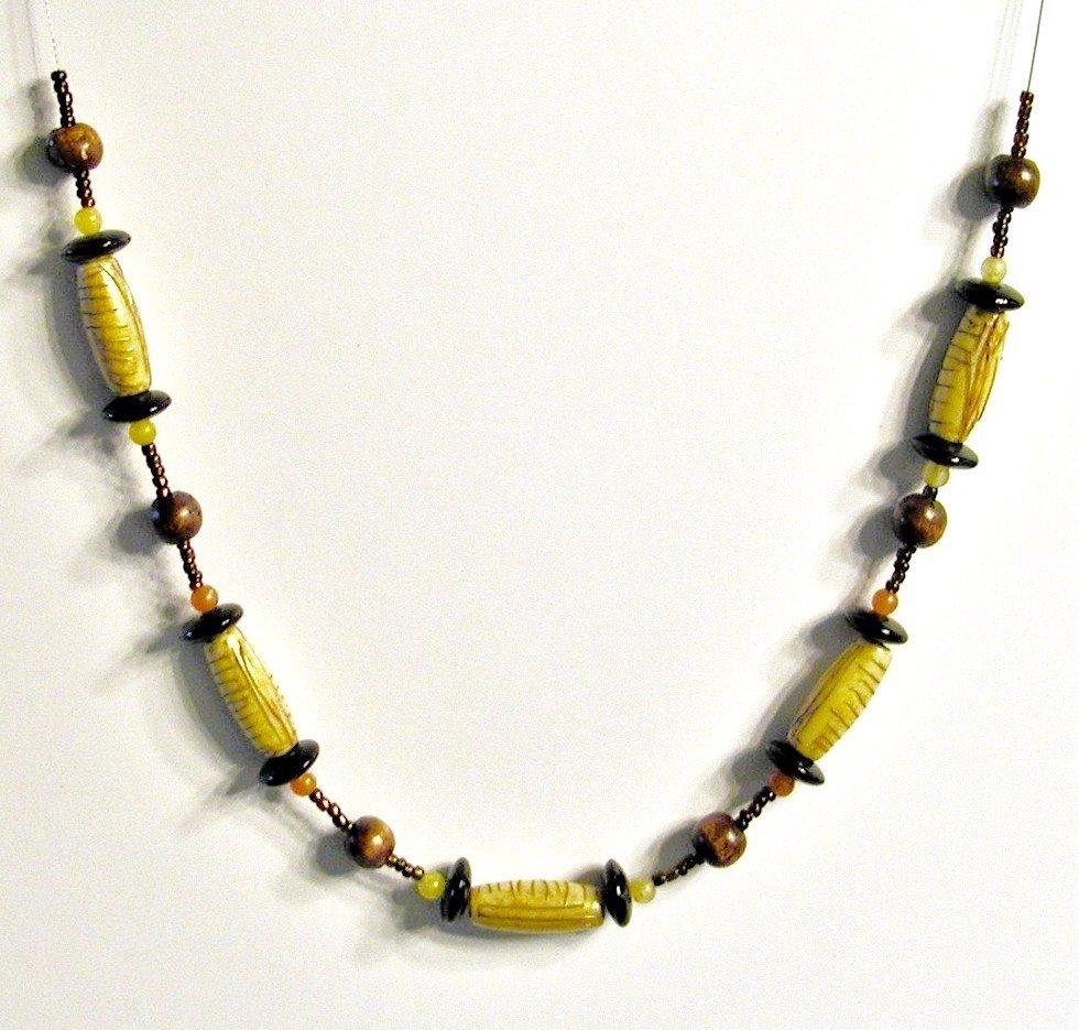 Carved Bone Necklace - Kenna