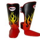 Twins Fancy Shin guards100% genuine leather FSG-7 (Fire Flame)