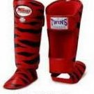 Twins Fancy Shin guards100% genuine leather FSG-2 (TIGER) MADE TO ORDER