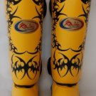 Raja Fancy Shin guards100% genuine leather (Yellow Tattoo) RFSP-1B-5-1