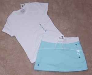 Old Navy 2pc Outfit Mint Skirt Skort & White Tee Shirt Sz 6 NWT